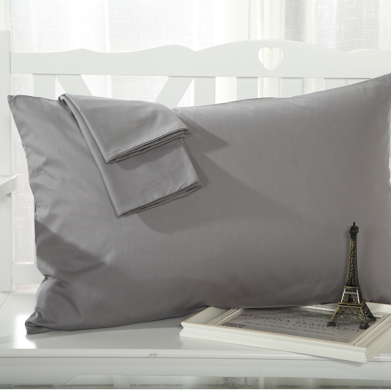 One pair free shipping single thick cotton plain solid color white cotton pillowcase pillow cover pillow cover 48 74cm