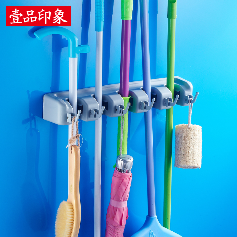 One product impression mop rack space aluminum broom rack to hang the kitchen hook hook mop mop rack rack rack multifunction five gold