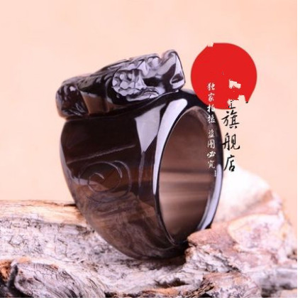 Opening of natural ice kinds of obsidian rainbow eye effect crystal ring ring ring brave men pull that