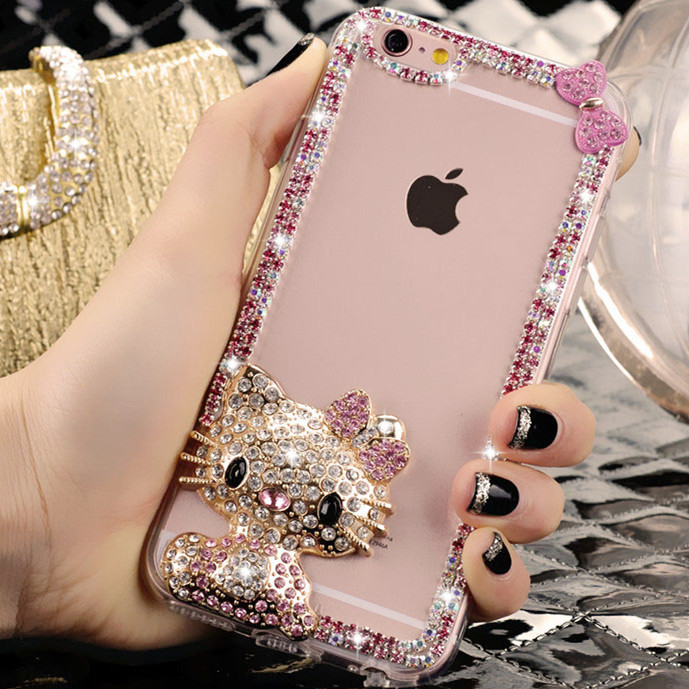 Oppo r7plus transparent hard shell phone shell mobile phone shell female models cute rhinestone metal cartoon r7 plus mobile phone sets
