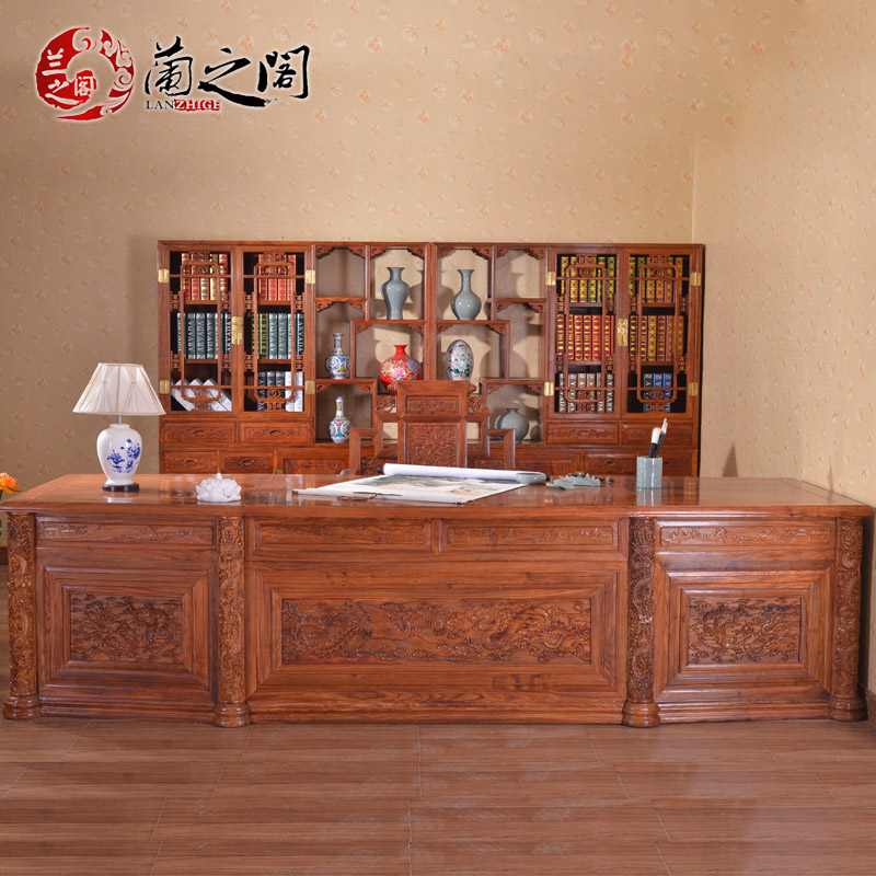 Orchid court mahogany desk desk desk boss table desk wood office upscale chinese study furniture