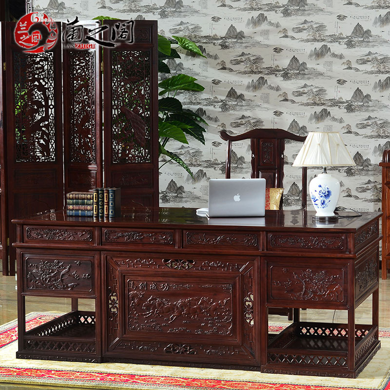 Orchid court mahogany wood desk wood desk 2 m desk at right angles to the chinese furniture LG-A06