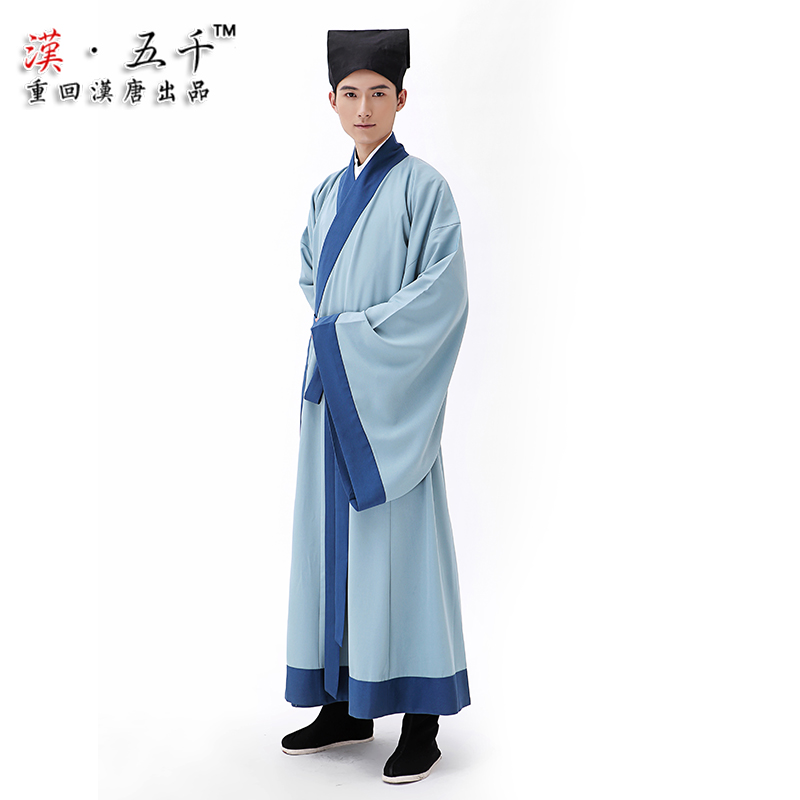 Original brand back to the han and tang han chinese clothing men's garment straight light cyan fine lines and it formal non costume han chinese clothing dress