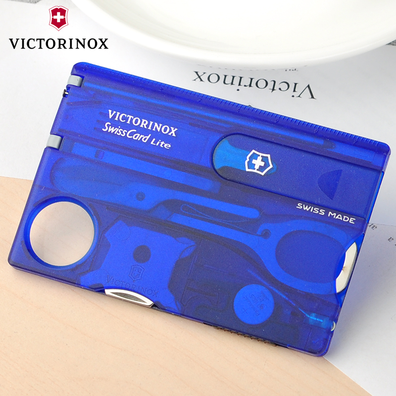 Original genuine swiss army knife victorinox knife card 0.7322.t2 (transparent blue) multifunction card knife swiss army knife
