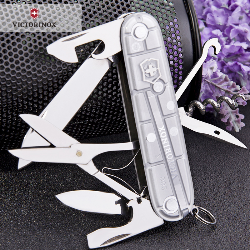 Original genuine victorinox swiss army 91mm climbers transparent silver 1.3703.t7 multifunction knife