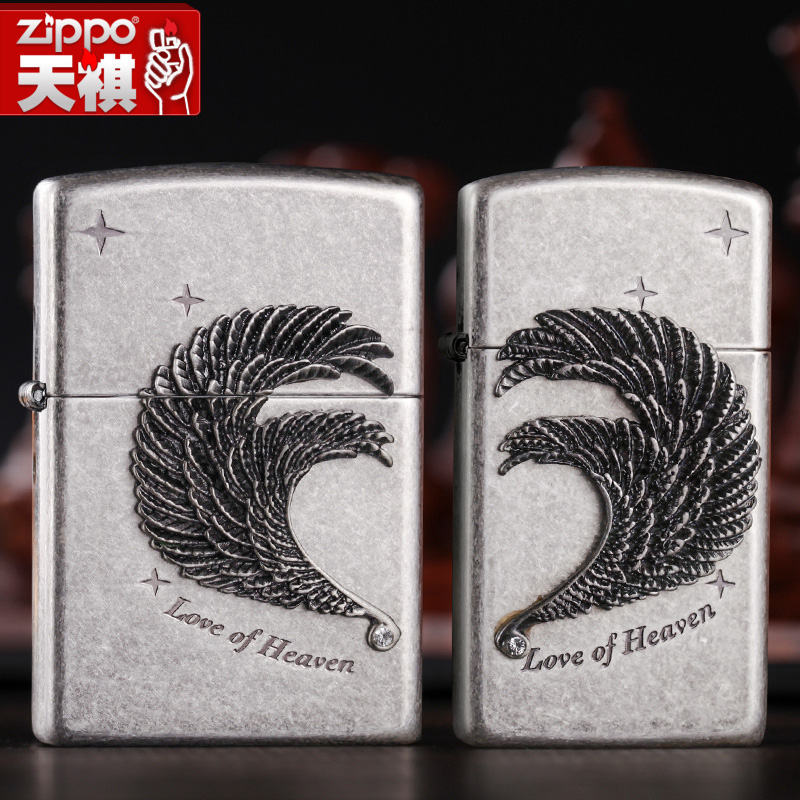 Original genuine zippo lighters ancient silver slim swan feather love zppo genuine windproof genuine
