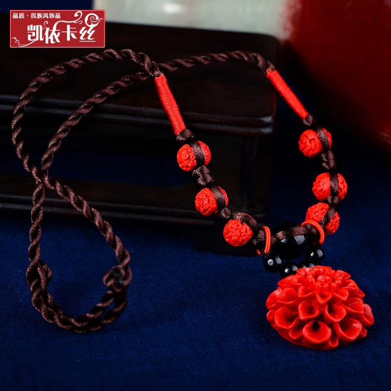 Original handmade national wind palace retro flowers flowers short clavicle chain necklace carved lacquer jewelry necklace