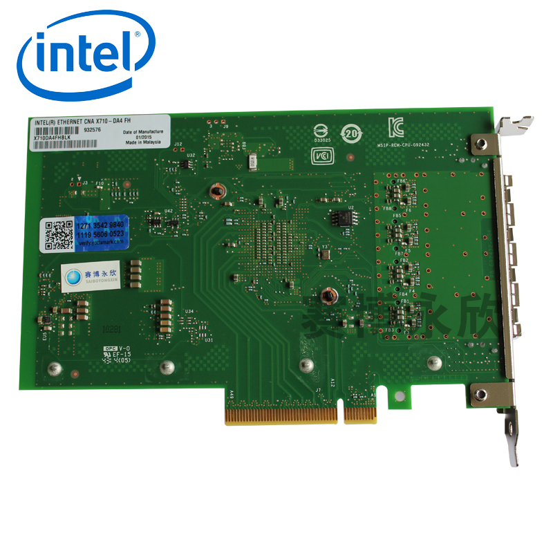 Original intel intel gigabit ethernet aggregation network adapter X710DA4 four light 4å£card