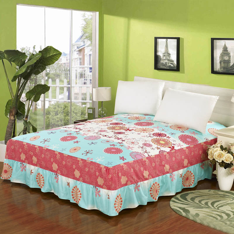 Originated from amoy textile cotton single bed skirt bedspread cotton twill cotton bed skirt bed skirt single product c
