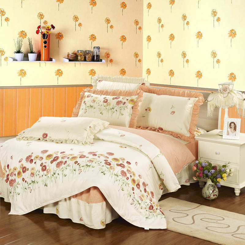 Originated from amoy textile lace pillow 100% cotton twill printed bed skirt bedding a family of four
