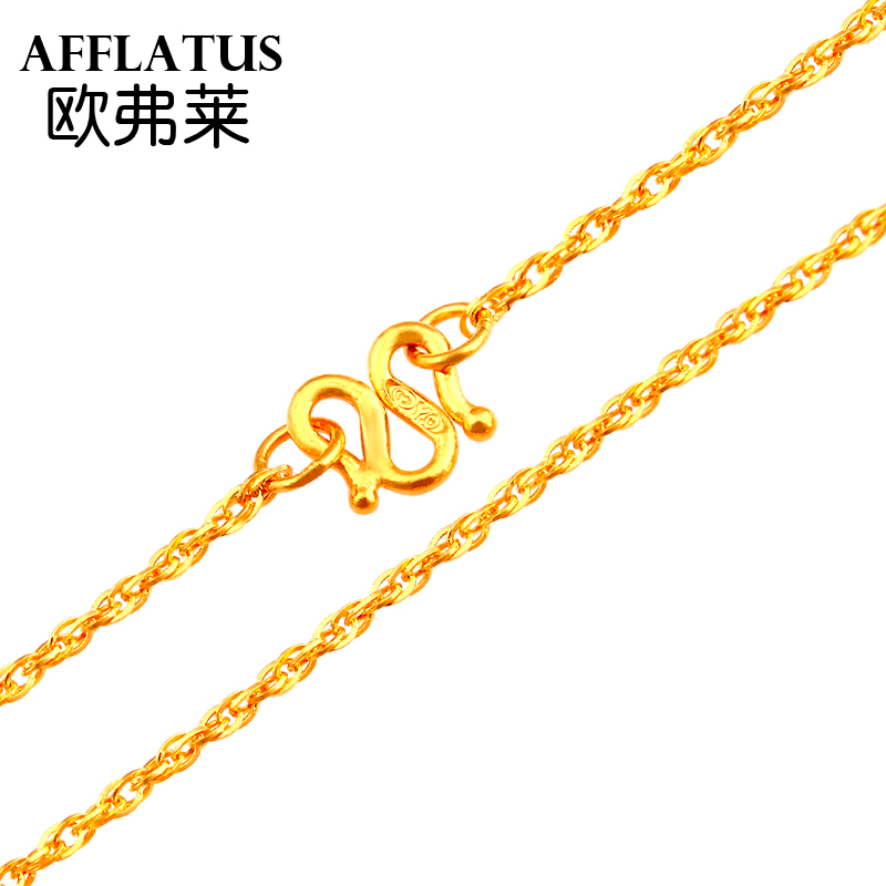 Oufu lai gold gold necklace gold necklace female models clavicle gold chain necklace water ripples