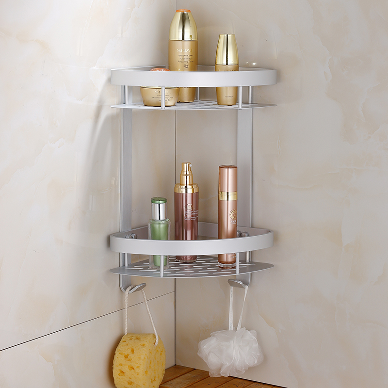 Ousuo le bathroom space aluminum bathroom single double corner basket racks with hooks bathroom supplies thicker