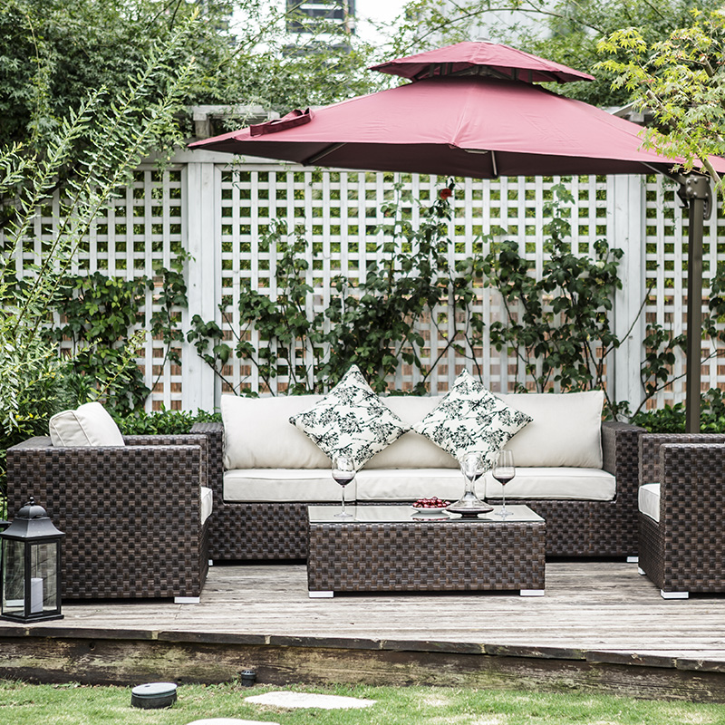 Outdoor patio wicker chair wicker chair balcony outdoor rattan sofa corner sofa combination of leisure furniture rattan chair rattan creative