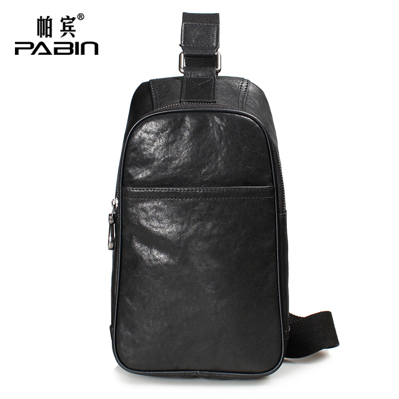 Pabin 2016 new chest pack male header layer of soft leather casual shoulder bag leather messenger bag small backpack korean