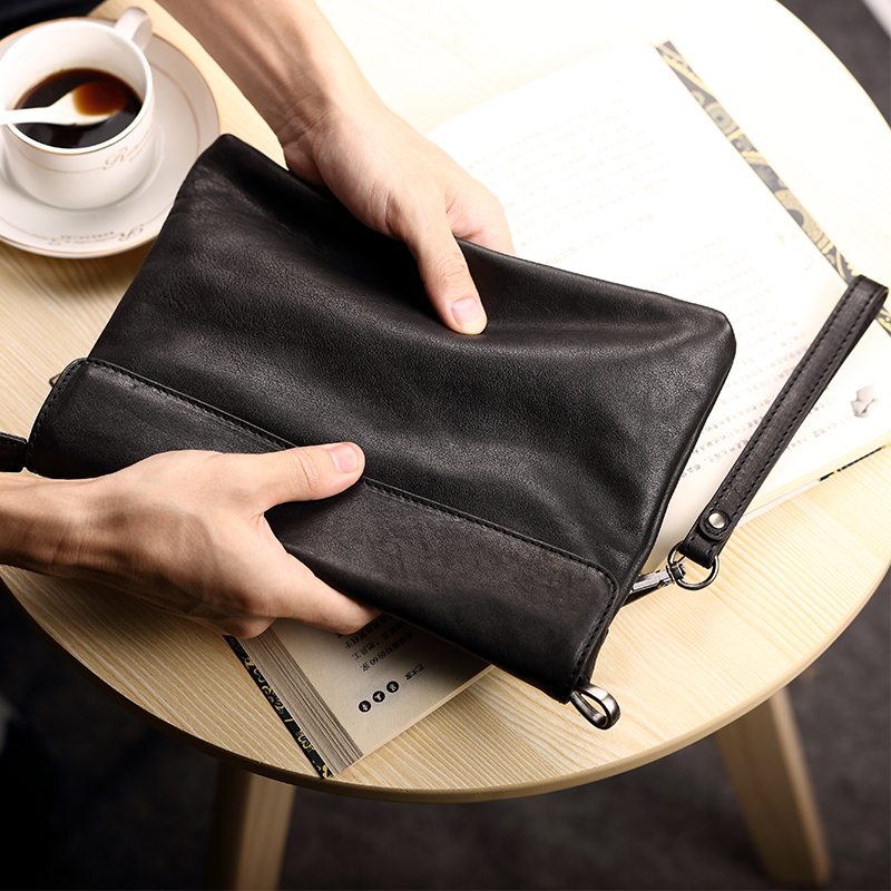 Pabin clutch bag men soft leather envelope bag clutch bag large capacity wallet leather handbag business man bag tide Pleather
