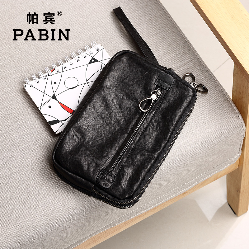Pabin men leather clutch bag large capacity soft leather clutch bag first layer of leather hand bag man bag authentic
