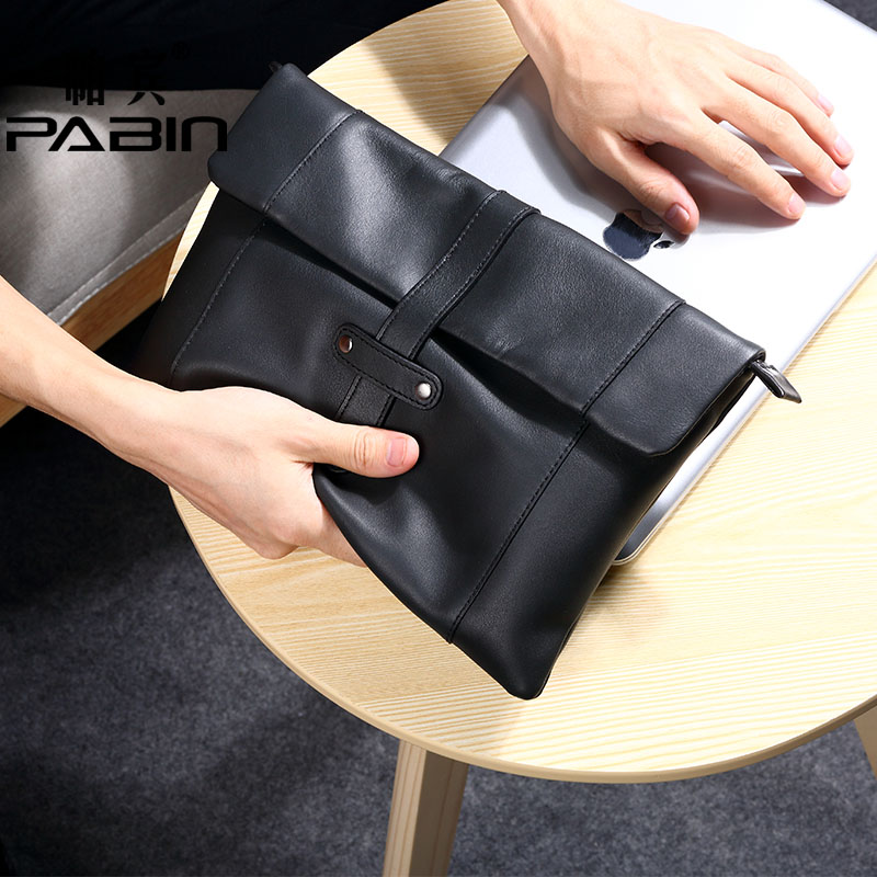 Pabin men leather clutch bag large capacity soft leather envelope bag man bag first layer of leather man bag leather clutch bag men leisure