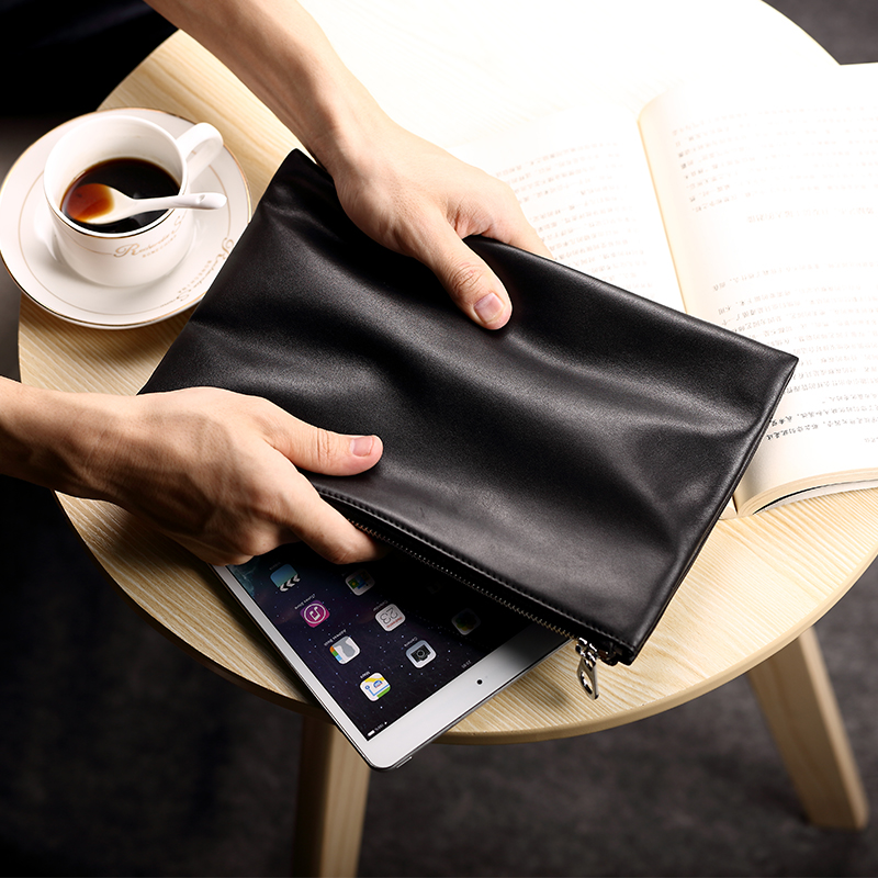 Pabin men leather clutch handbag clutch bag large capacity soft leather clutch bag business casual first layer of leather envelope package tide