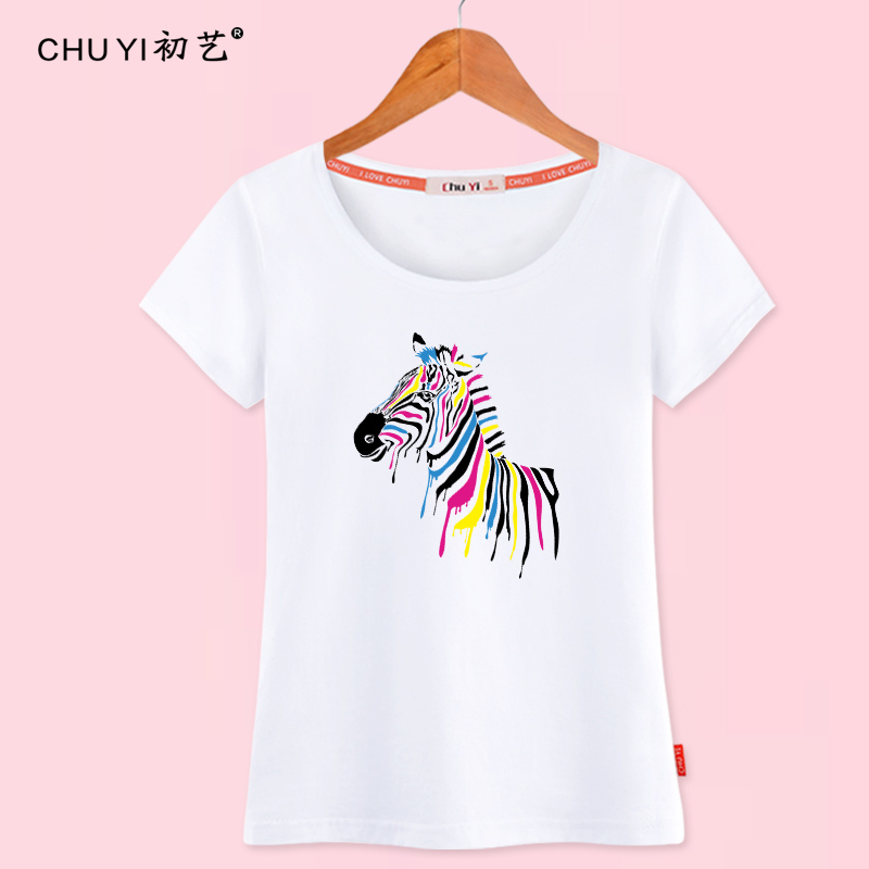 Painted horse summer clothes short sleeve cotton t-shirt female korean women students loose big yards t-shirt printing compassionate