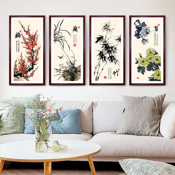 Paintings of modern chinese bamboo and chrysanthemum merlin framed painting decorative painting the living room wood frame wall painting quadruple mural paintings nave