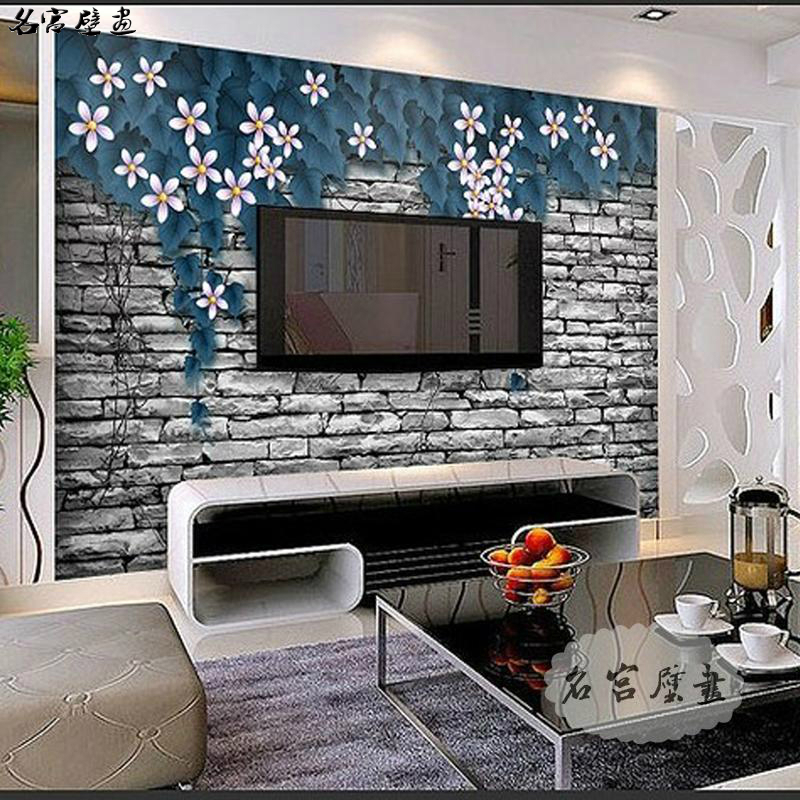 Palace were large mural 3d stereoscopic fashion space living room tv background wallpaper wallpaper blue rosaceous wall