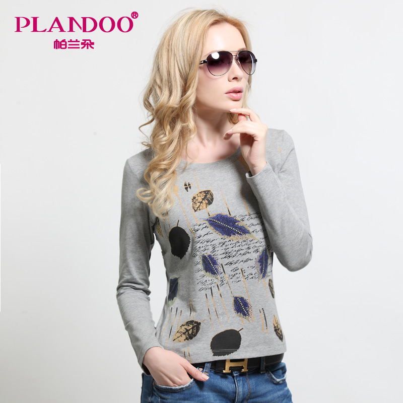 Palladio 2015 summer new printing combed cotton long sleeve t-shirt female loose round neck t-shirt and a sense of bottoming shirt