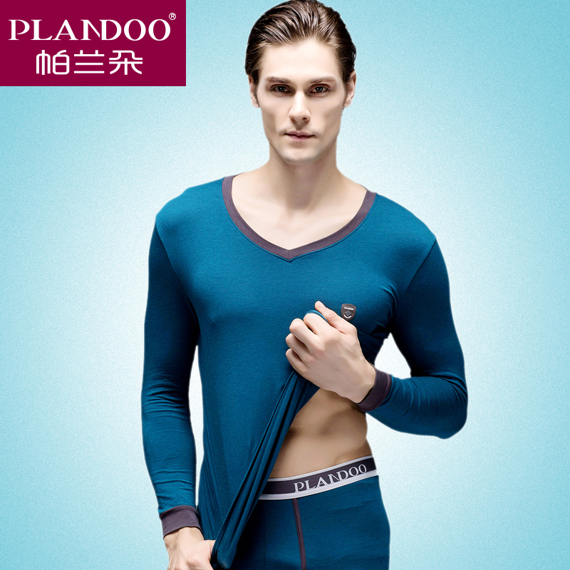 Palladio men's thermal underwear thin section of young autumn and winter suits qiuyiqiuku v-neck slim modal fabric