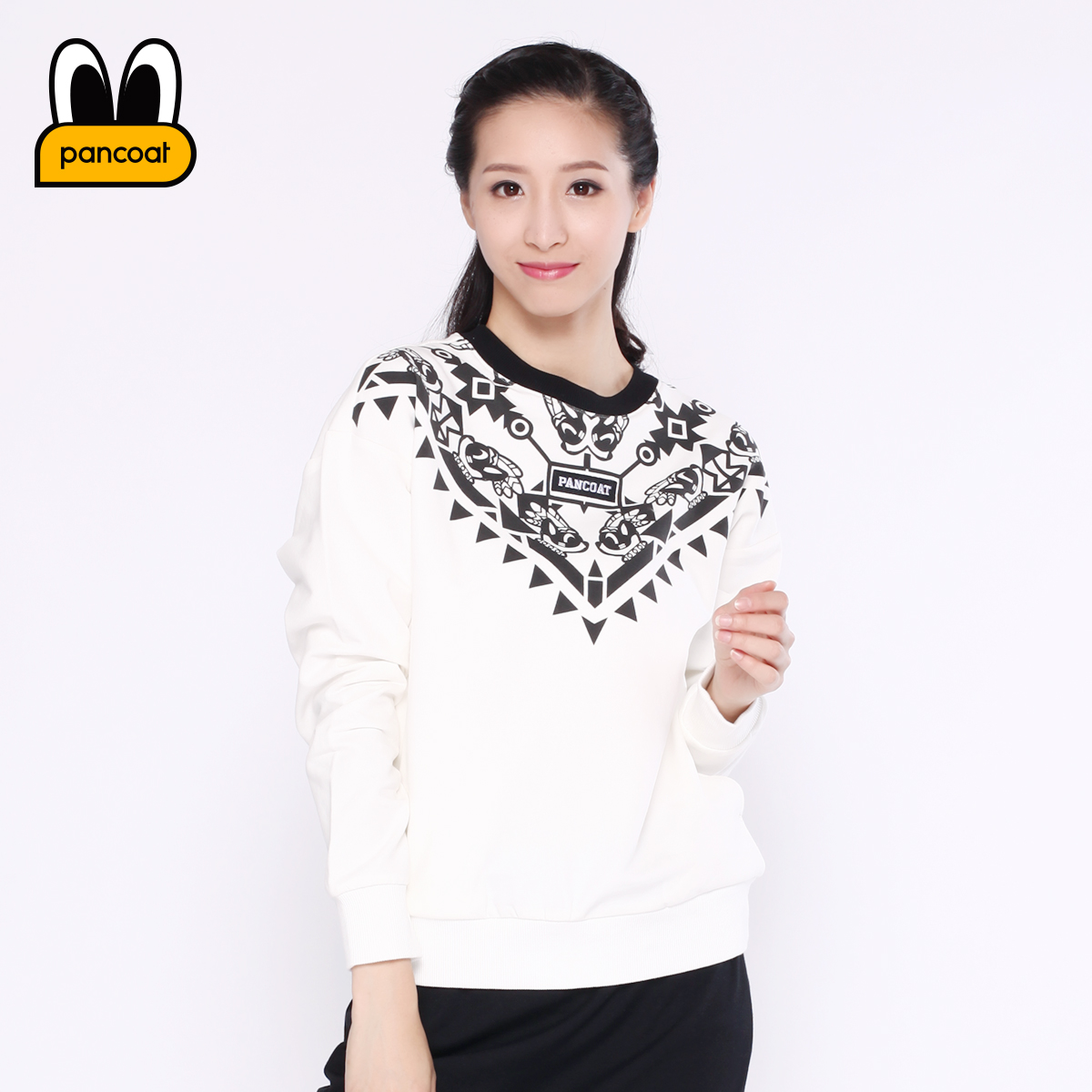 Pancoat PPATT163005W hedging round neck sweater female cartoon casual korean version of the new fall