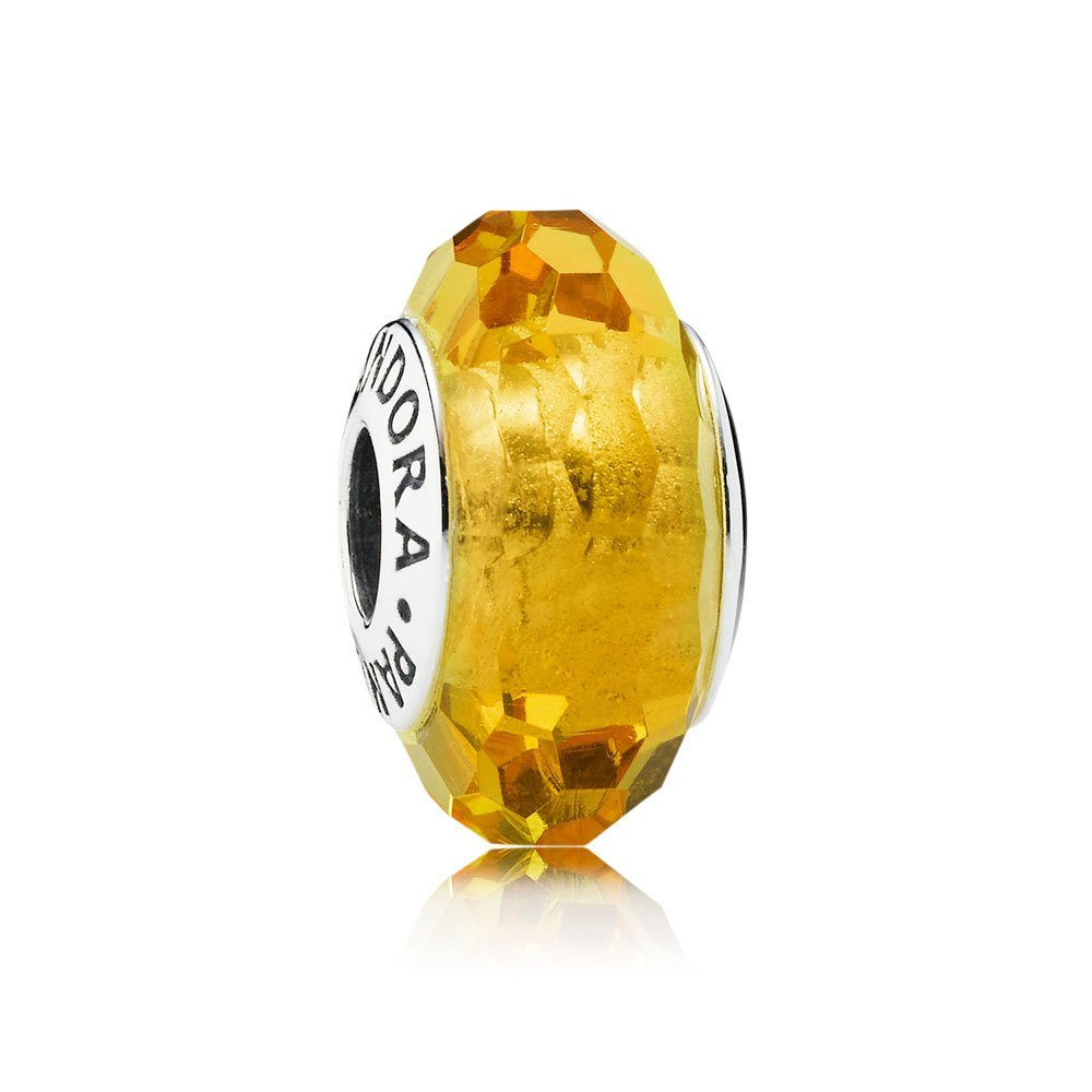 Pandora pandora female yellow glass section 925 sterling silver beads diy beaded bracelet 791629