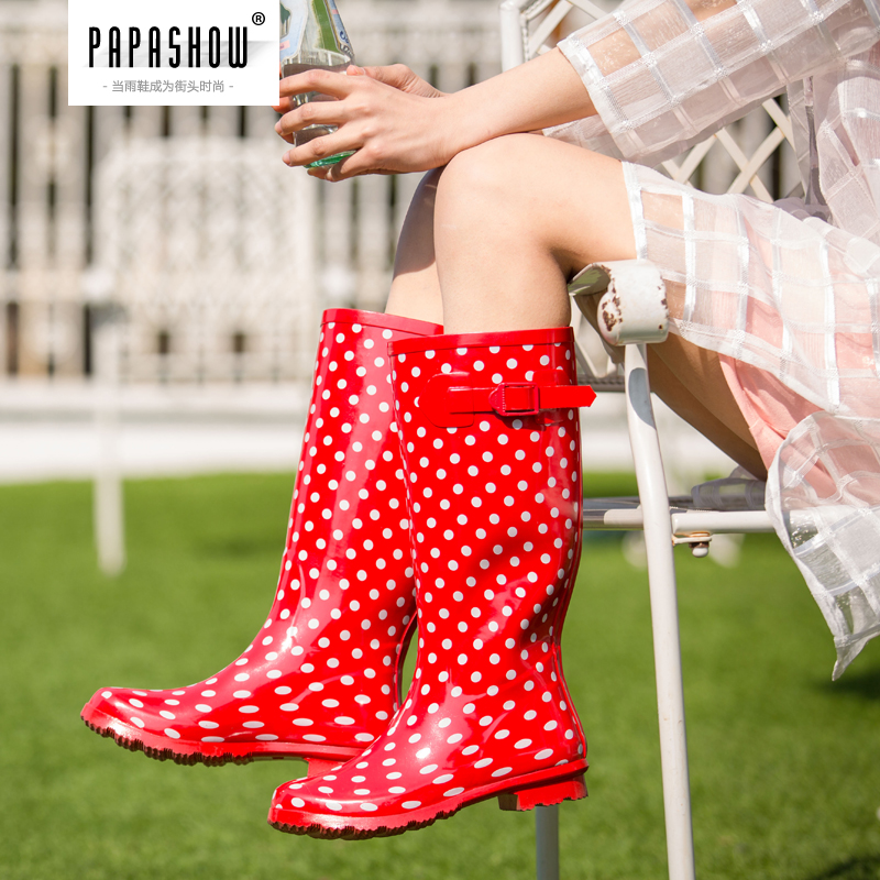 Papa show summer new female fashion rain boots rubber rain boots ladies waterproof boots gaotong korean tidal wave point