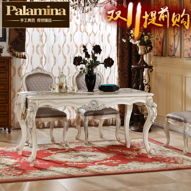 Parra mina villa continental furniture wood dining table american french carved carved dining table long table 6 people
