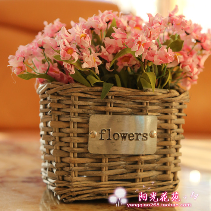 Pastoral home more meat pots handmade wicker baskets rectangular storage rattan flower flower flower green features