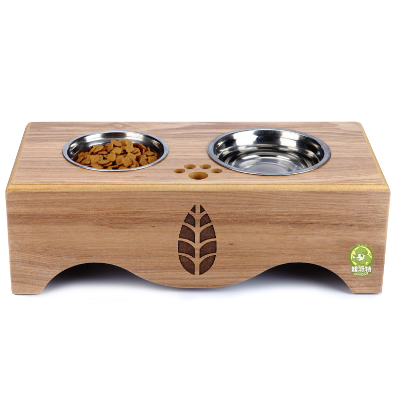 Pat girl pet dog feeding bowl dog bowl cat bowl dog bowl dog bowl fanpen double bowl stainless steel wood