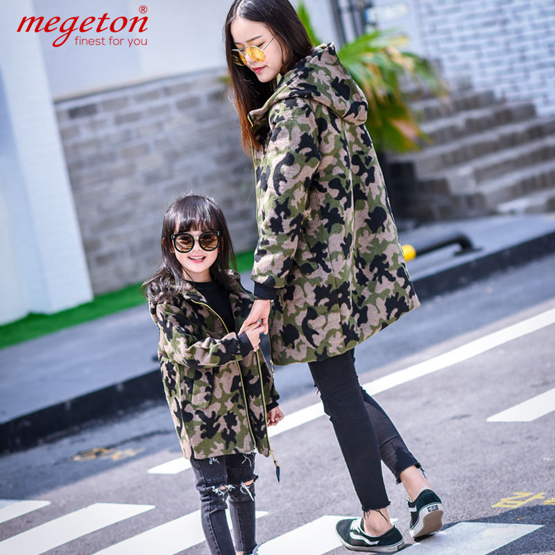 Paternity autumn and winter woolen coat thick woolen coat 2016 new mother and daughter korean girls camouflage coat and long sections