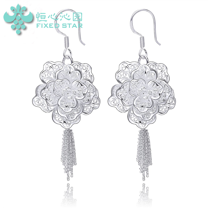 Patio perseverance 99 fine silver filigree earrings female hollow retro elegant fashion peony flower earrings silver jewelry