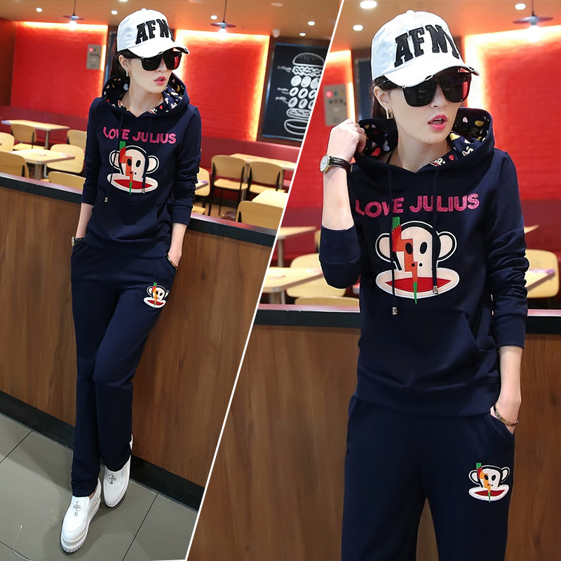 Paul frank/mouth monkey 2016 autumn new models women long sleeve sweater suit sports