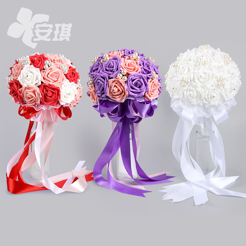 Pe simulation roses pearl diamond wedding bride holding flowers beautiful multicolor can be customized pink/red/purple wedding supplies