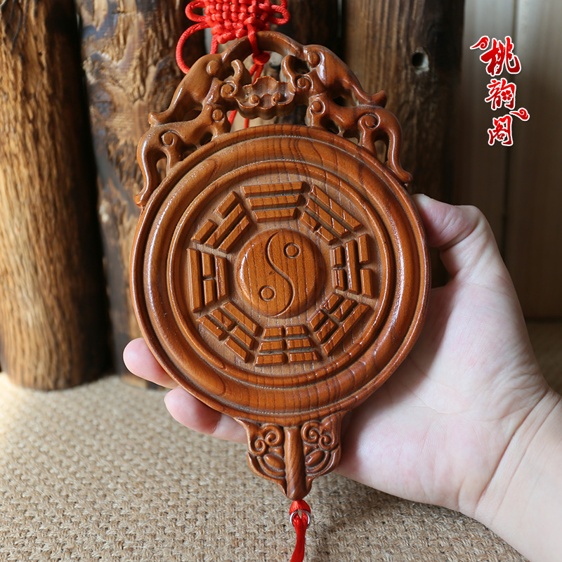 Peach rhyme court lucky chinese festival chinese knot mahogany mirror bagua mirror of family harmony eighteen evil evil door