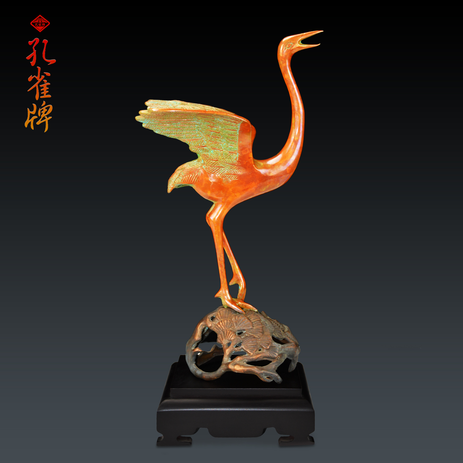 Peacock brand heming dance variegated copper copper ornaments metal crafts office feng shui bronze handmade