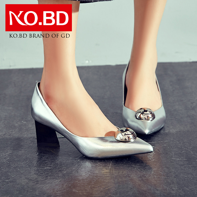 Get Quotations · Pedicle ke silver heels shallow mouth pointed leather  shoes in europe and america beaded y530 set 8d66b7d79b84