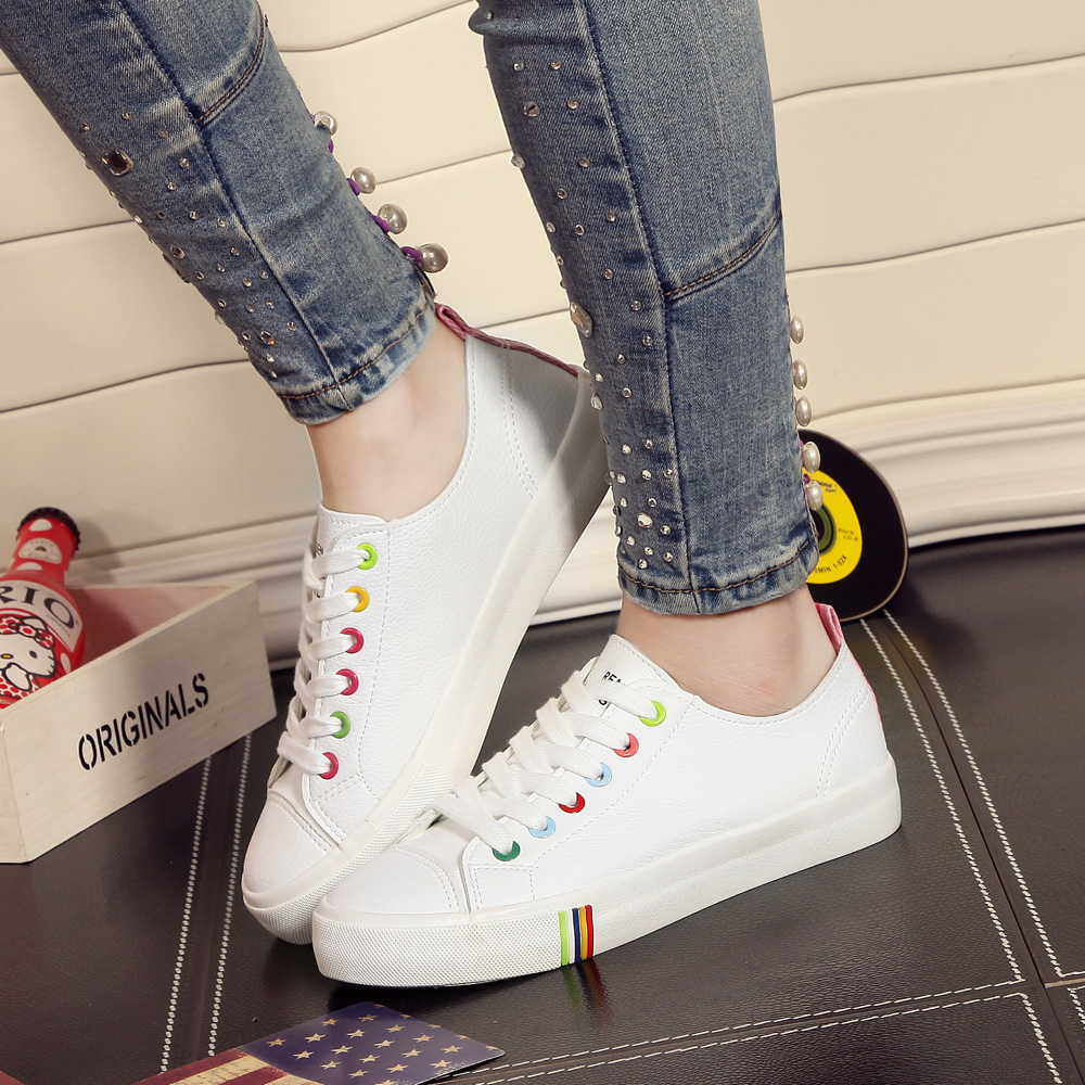 People canvas shoes female student leather lace white shoes wild shoes flat shoes to help low shoes casual shoes student