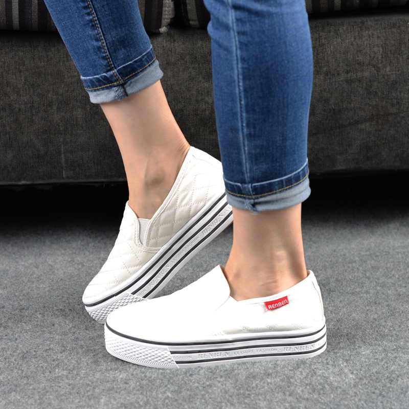 People in this summer with flat white shoes student shoes casual canvas shoes women shoes spring shoes women shoes white thick crust muffin shoes loafers