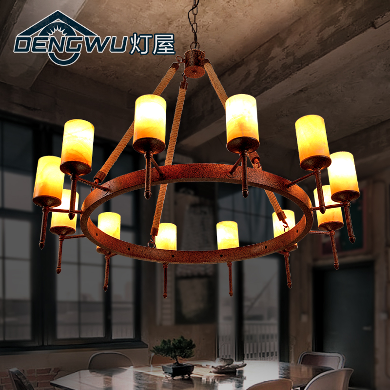 Personalized restaurant chandelier lamp american country house hemptwist industrial retro bar chandelier creative cafe bar