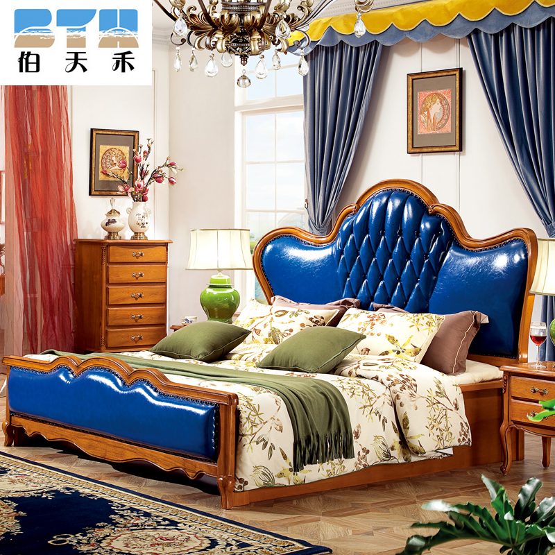 Peter tianhe all solid wood bed continental american oil wax leather furniture leather bed double bed 1.8 m marriage bed