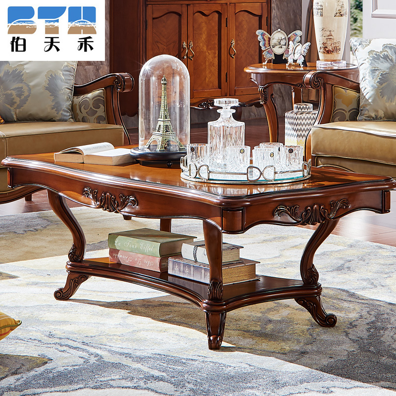 Peter tianhe coffee table coffee table american country european solid wood coffee table tea table antique furniture living room 1.3 m beech