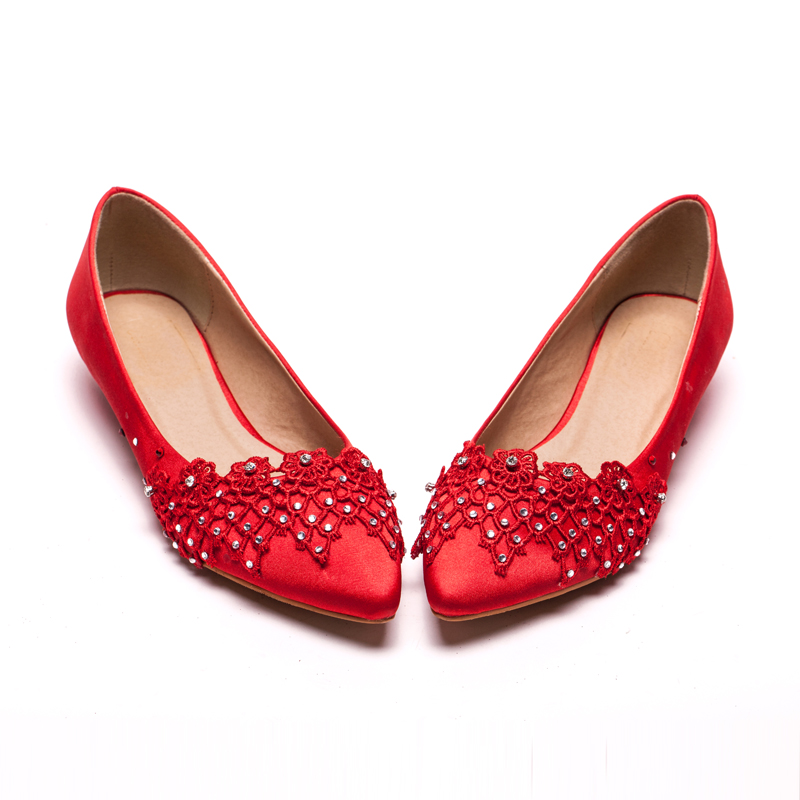 Phalaenopsis flowers painted sang sweet pointed flat shoes flat heel diamond shoes wedding shoes bridal shoes with red flowers
