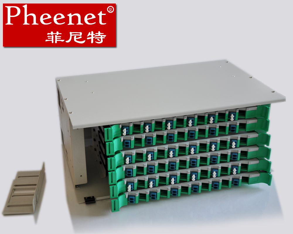 Pheenet fei nite odf 144 core fiber optic wiring box rack filled with lc multimode unit body splice tray