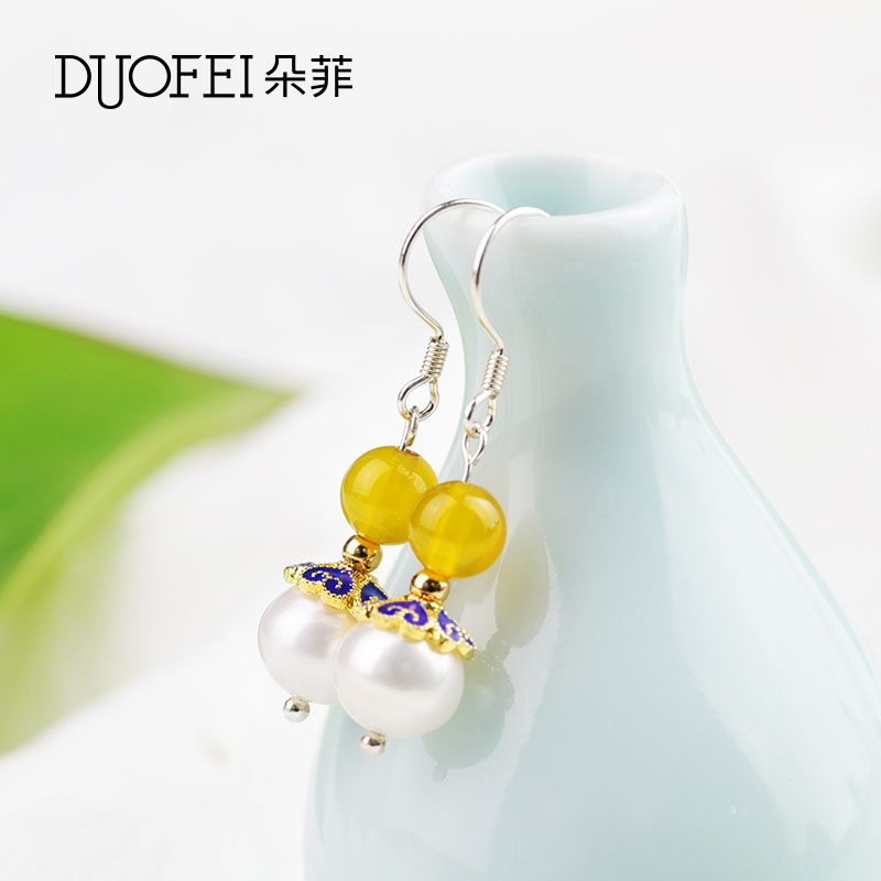 Philippine flowers fashion female models simple wild national wind diy handmade pearl earrings japan and south korea pearl earrings gift