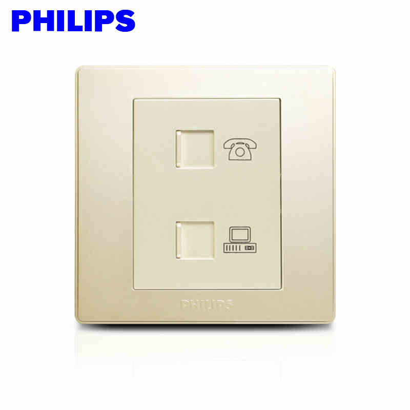 Philips switch socket panel 86 type champagne q6 phone jack computer network telephone socket combo