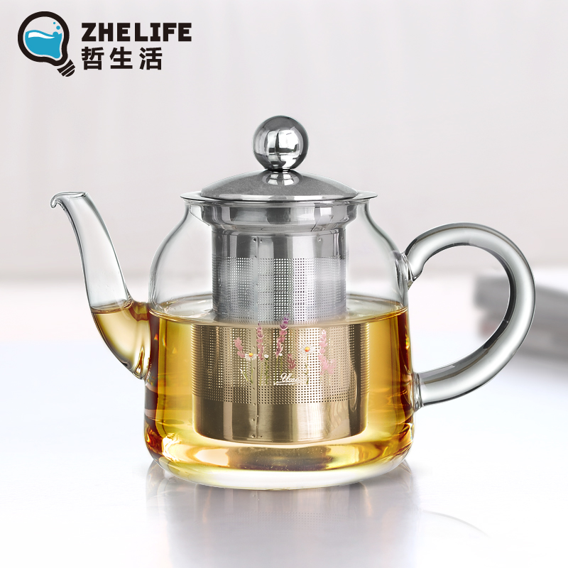Philosophy of life genuine thick pyrex glass tea stainless steel filter liner can be heated teapot flower pot